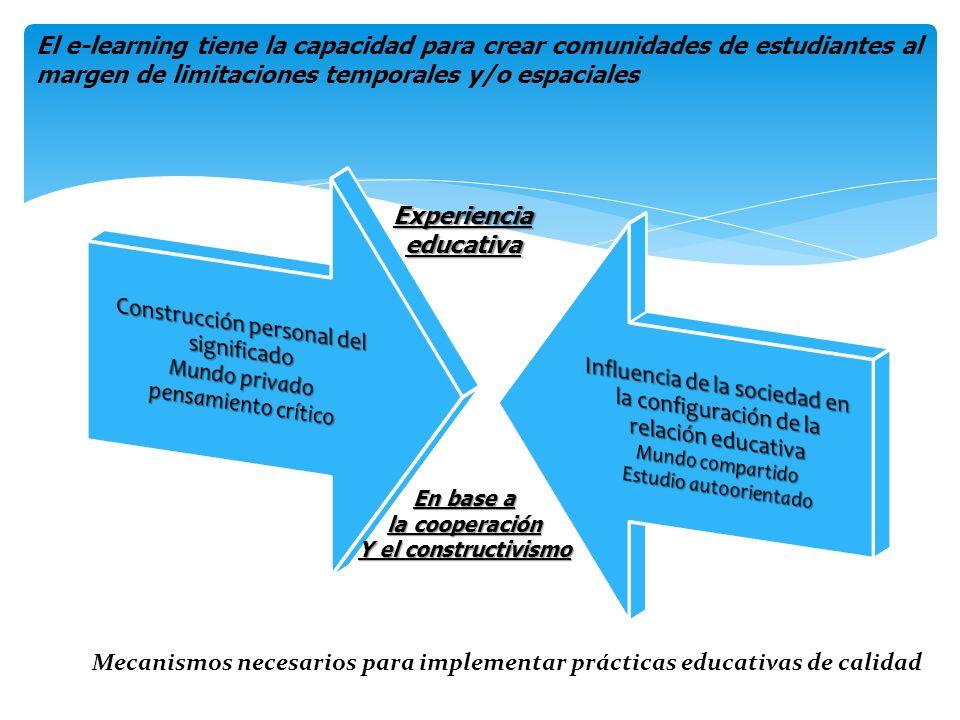 El e-learning tiene la capacidad para crear comunidades de estudiantes al margen de limitaciones temporales y/o espaciales Experiencia educativa En ba
