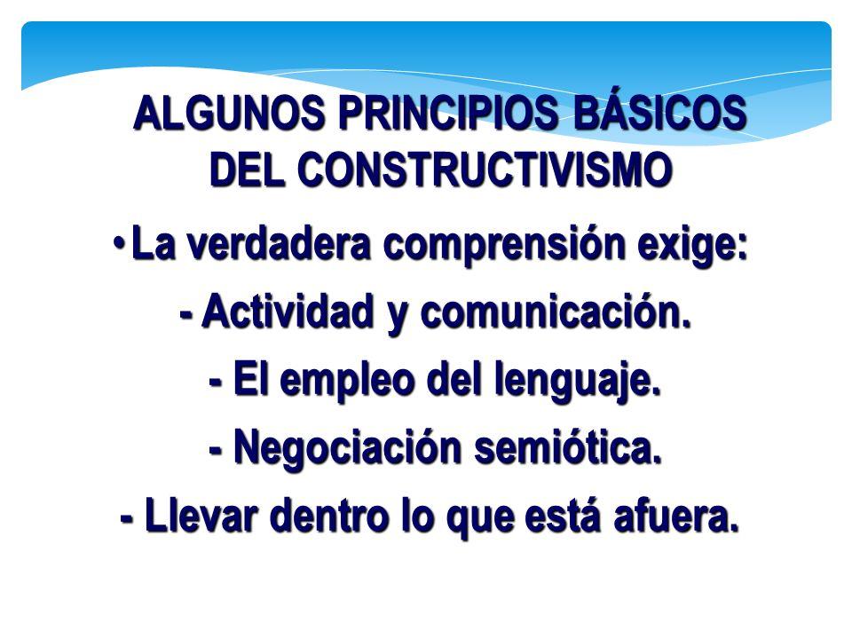 La verdadera comprensión exige: La verdadera comprensión exige: - Actividad y comunicación. - Actividad y comunicación. - El empleo del lenguaje. - El