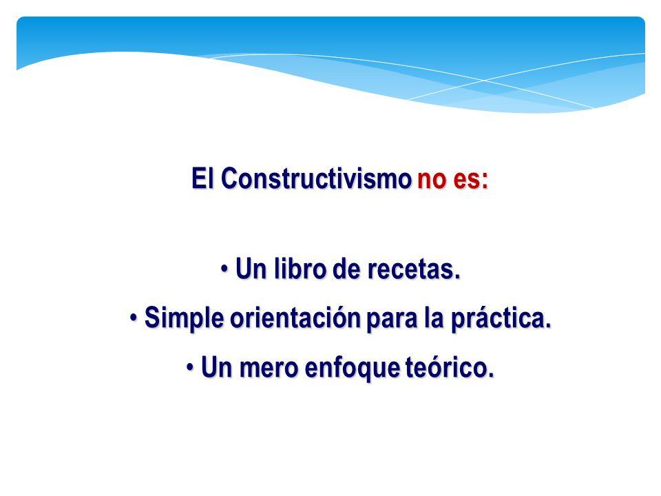 El Constructivismo no es: Un libro de recetas. Un libro de recetas. Simple orientación para la práctica. Simple orientación para la práctica. Un mero