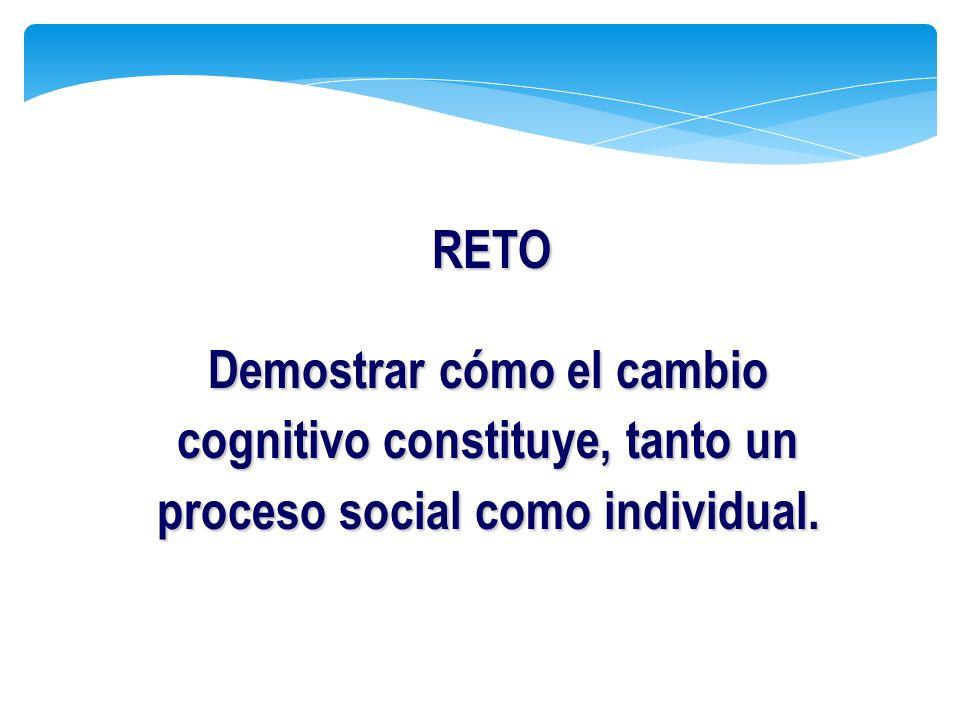 Demostrar cómo el cambio cognitivo constituye, tanto un proceso social como individual. RETO