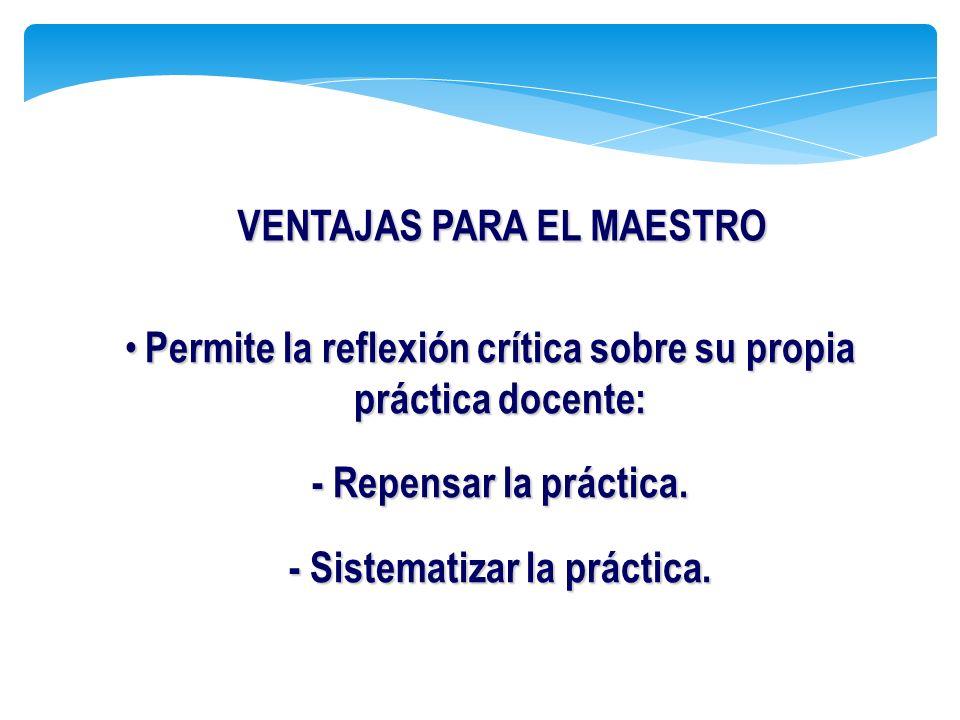 Permite la reflexión crítica sobre su propia práctica docente: Permite la reflexión crítica sobre su propia práctica docente: - Repensar la práctica.