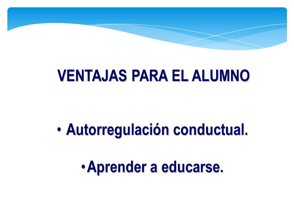 Autorregulación conductual. Autorregulación conductual. Aprender a educarse. Aprender a educarse. VENTAJAS PARA EL ALUMNO