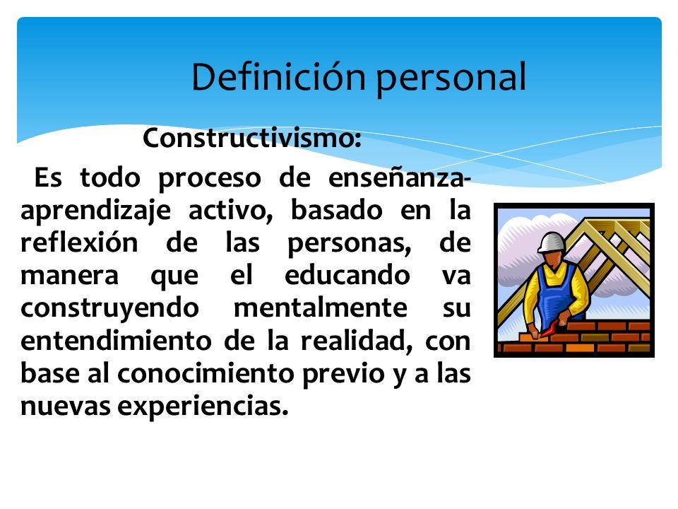 Definición personal Constructivismo: Es todo proceso de enseñanza- aprendizaje activo, basado en la reflexión de las personas, de manera que el educan