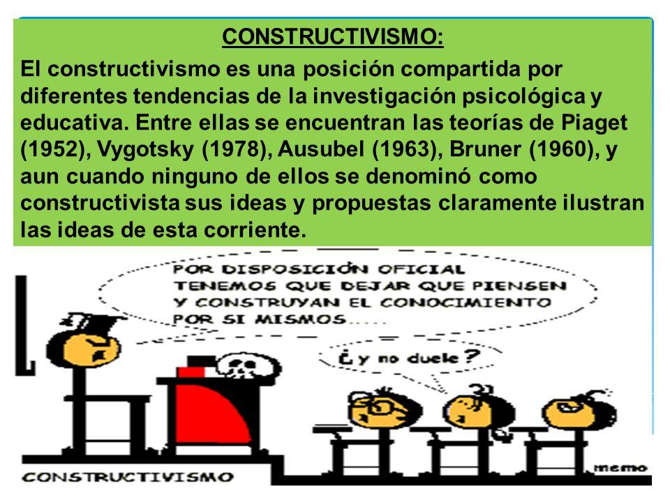 69 CONSTRUCTIVISMO: El constructivismo es una posición compartida por diferentes tendencias de la investigación psicológica y educativa. Entre ellas s