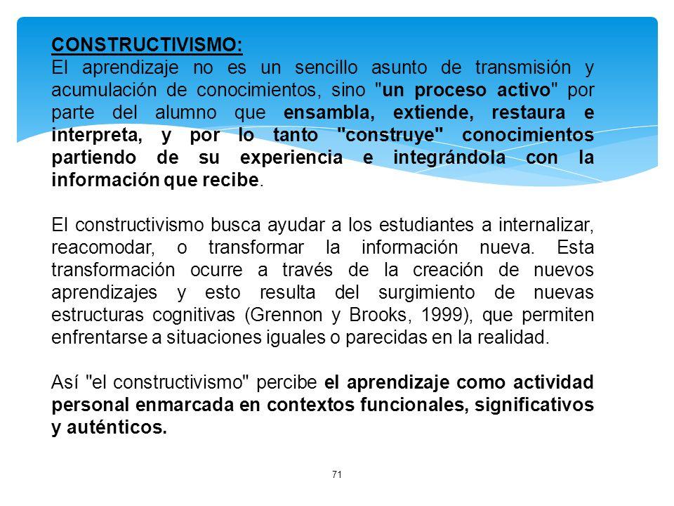 71 CONSTRUCTIVISMO: El aprendizaje no es un sencillo asunto de transmisión y acumulación de conocimientos, sino