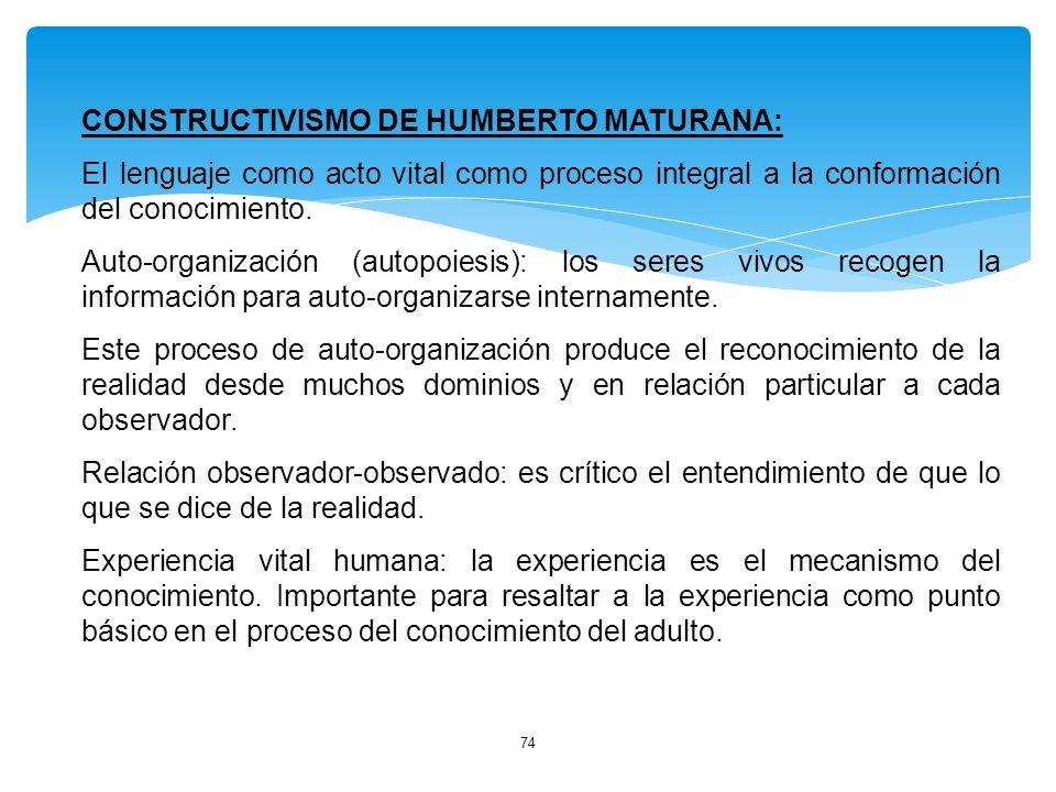 74 CONSTRUCTIVISMO DE HUMBERTO MATURANA: El lenguaje como acto vital como proceso integral a la conformación del conocimiento. Auto-organización (auto