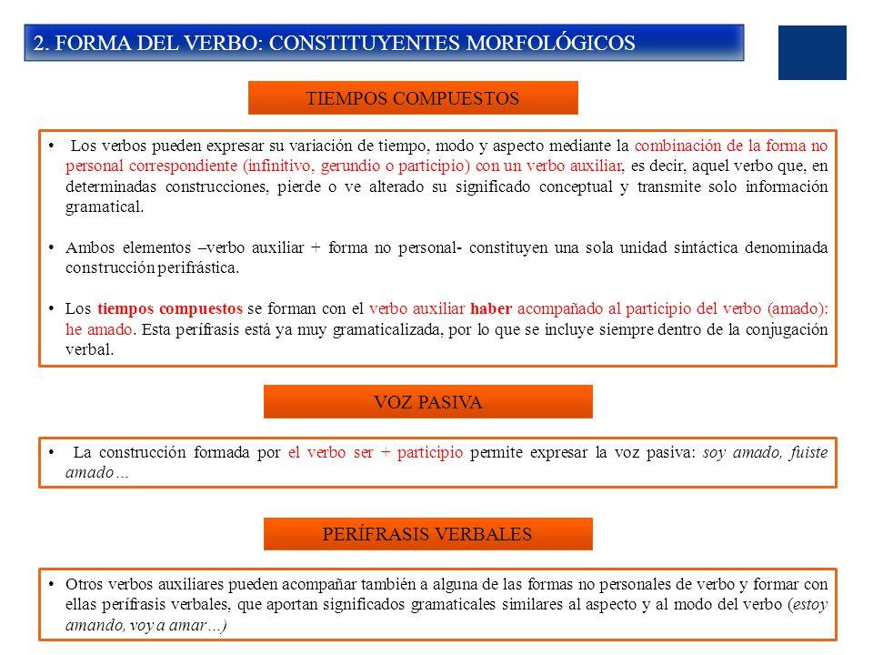 2. FORMA DEL VERBO: CONSTITUYENTES MORFOLÓGICOS TIEMPOS COMPUESTOS Los verbos pueden expresar su variación de tiempo, modo y aspecto mediante la combi
