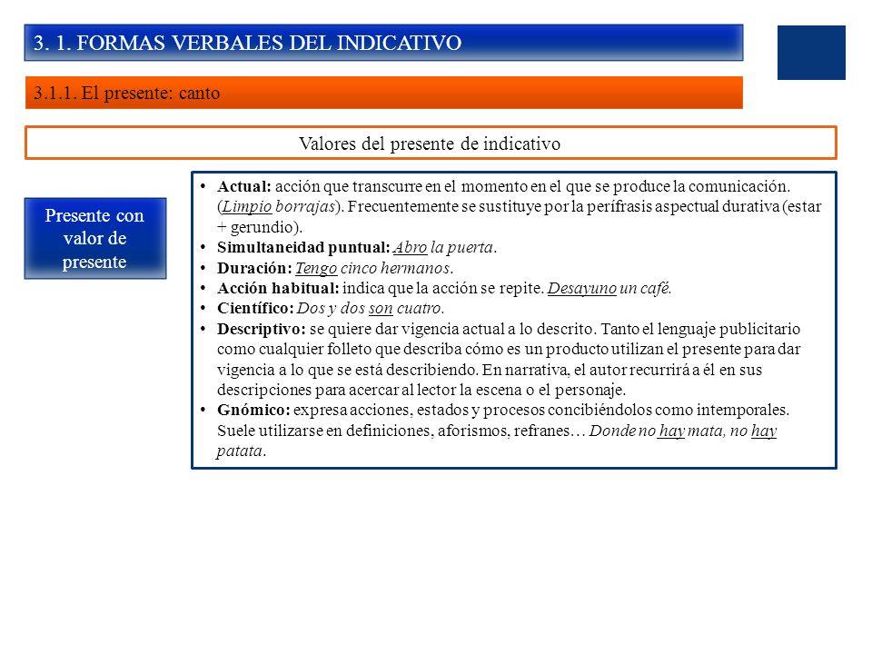 3. 1. FORMAS VERBALES DEL INDICATIVO 3.1.1. El presente: canto Valores del presente de indicativo Presente con valor de presente Actual: acción que tr