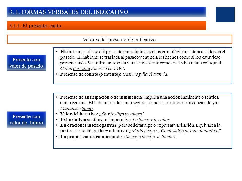3. 1. FORMAS VERBALES DEL INDICATIVO 3.1.1. El presente: canto Valores del presente de indicativo Presente con valor de pasado Histórico: es el uso de
