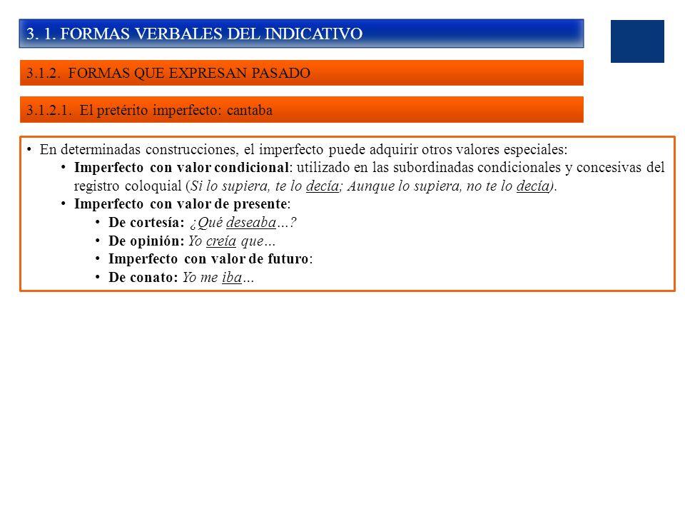 3. 1. FORMAS VERBALES DEL INDICATIVO 3.1.2. FORMAS QUE EXPRESAN PASADO 3.1.2.1. El pretérito imperfecto: cantaba En determinadas construcciones, el im