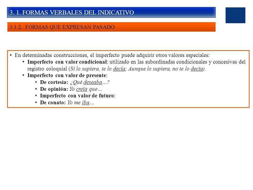 3. 1. FORMAS VERBALES DEL INDICATIVO 3.1.2. FORMAS QUE EXPRESAN PASADO En determinadas construcciones, el imperfecto puede adquirir otros valores espe