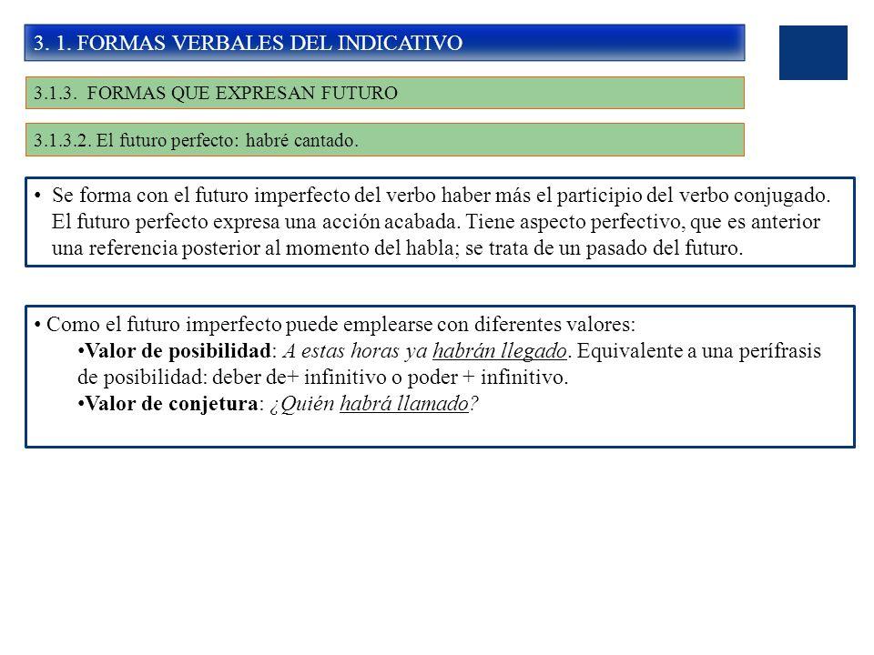 3. 1. FORMAS VERBALES DEL INDICATIVO 3.1.3. FORMAS QUE EXPRESAN FUTURO 3.1.3.2. El futuro perfecto: habré cantado. Se forma con el futuro imperfecto d