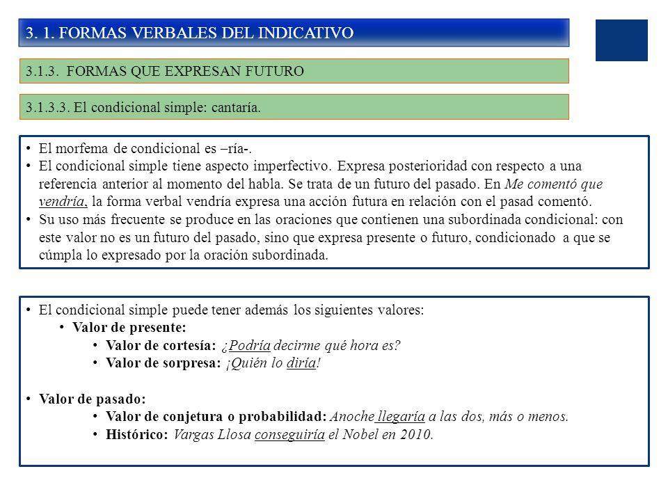 3. 1. FORMAS VERBALES DEL INDICATIVO 3.1.3. FORMAS QUE EXPRESAN FUTURO 3.1.3.3. El condicional simple: cantaría. El morfema de condicional es –ría-. E