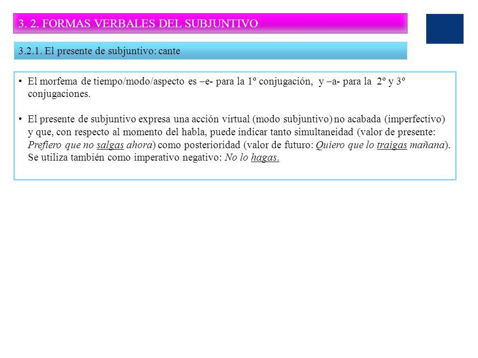 3. 2. FORMAS VERBALES DEL SUBJUNTIVO 3.2.1. El presente de subjuntivo: cante El morfema de tiempo/modo/aspecto es –e- para la 1º conjugación, y –a- pa