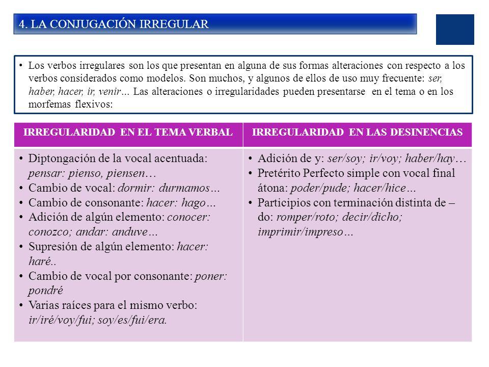 4. LA CONJUGACIÓN IRREGULAR Los verbos irregulares son los que presentan en alguna de sus formas alteraciones con respecto a los verbos considerados c