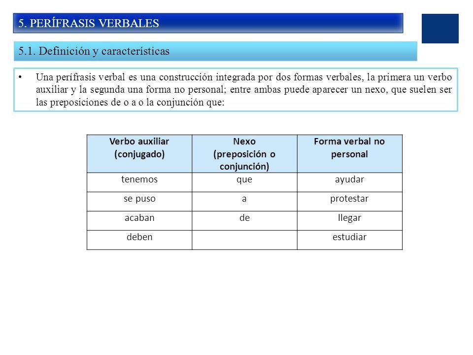 5. PERÍFRASIS VERBALES 5.1. Definición y características Una perífrasis verbal es una construcción integrada por dos formas verbales, la primera un ve