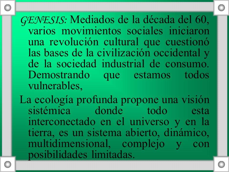 GENESIS: Mediados de la década del 60, varios movimientos sociales iniciaron una revolución cultural que cuestionó las bases de la civilización occide