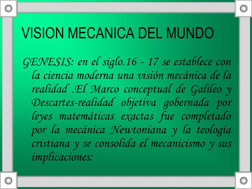 VISION MECANICA DEL MUNDO GENESIS: en el siglo.16 - 17 se establece con la ciencia moderna una visión mecánica de la realidad.El Marco conceptual de G