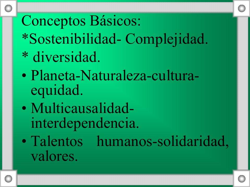 Conceptos Básicos: *Sostenibilidad- Complejidad. * diversidad. Planeta-Naturaleza-cultura- equidad. Multicausalidad- interdependencia. Talentos humano