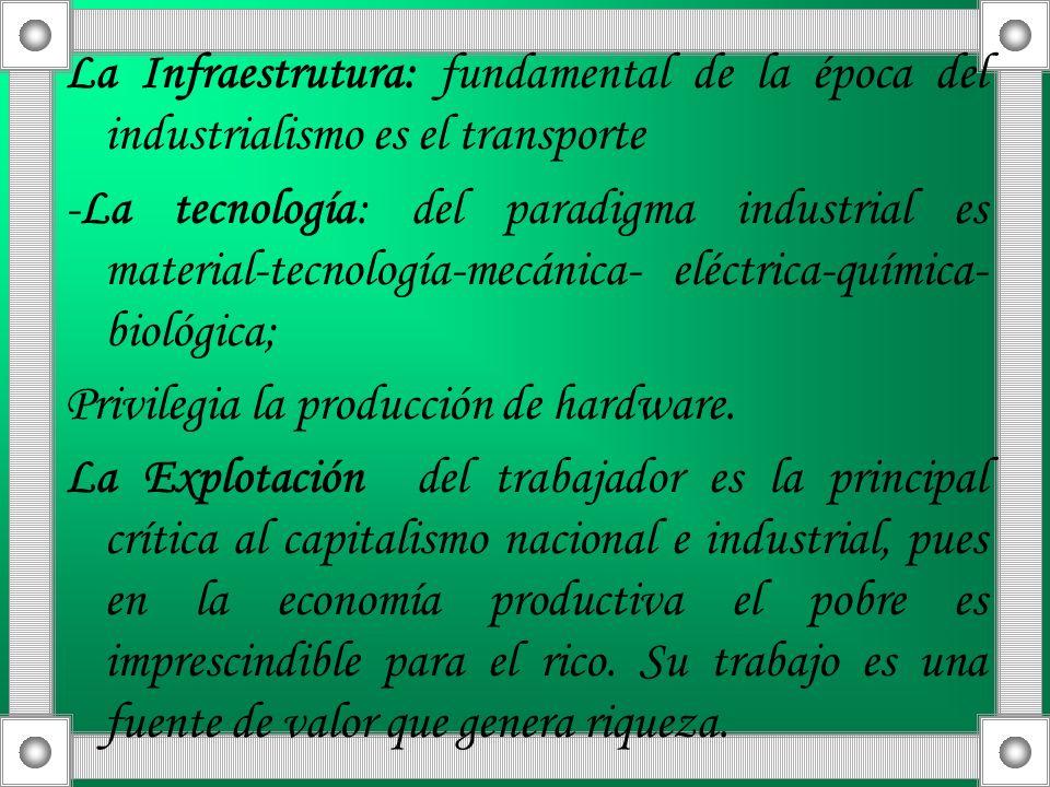 La Infraestrutura: fundamental de la época del industrialismo es el transporte -La tecnología: del paradigma industrial es material-tecnología-mecánic