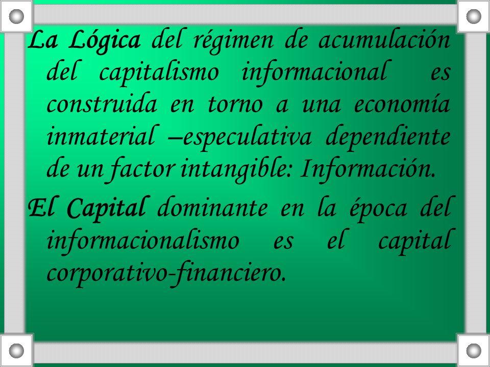 La Lógica del régimen de acumulación del capitalismo informacional es construida en torno a una economía inmaterial –especulativa dependiente de un fa
