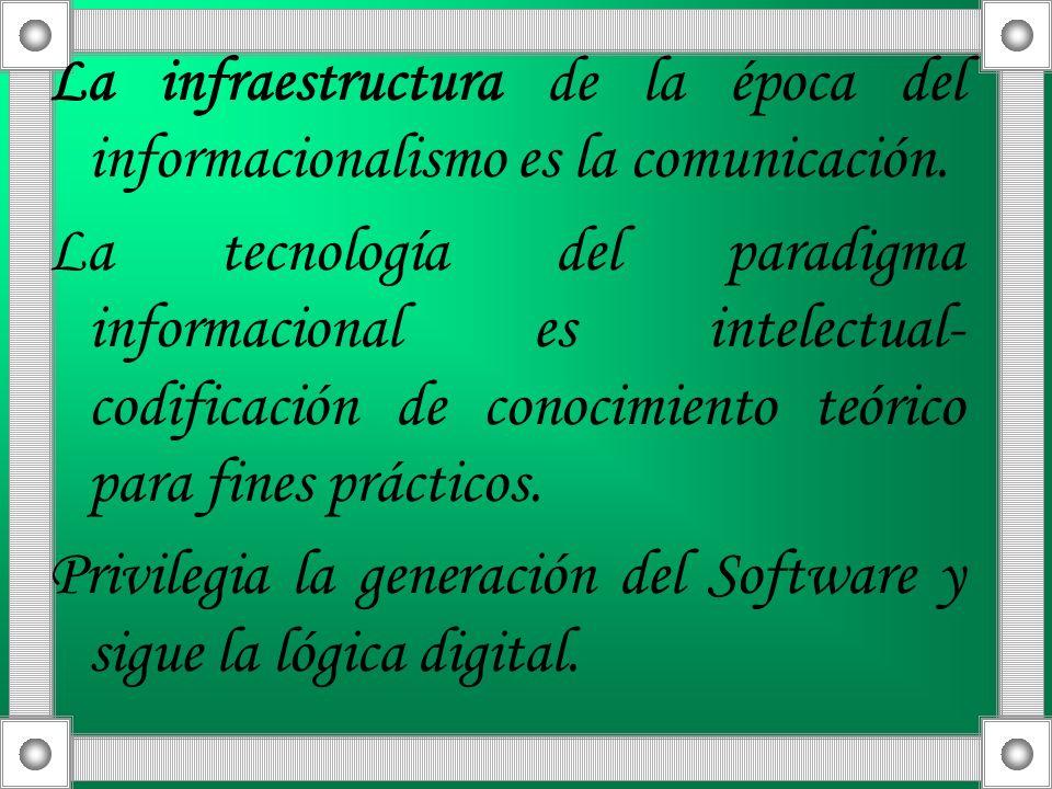La infraestructura de la época del informacionalismo es la comunicación. La tecnología del paradigma informacional es intelectual- codificación de con