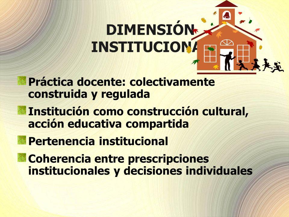 DIMENSIÓN INSTITUCIONAL Práctica docente: colectivamente construida y regulada Institución como construcción cultural, acción educativa compartida Per