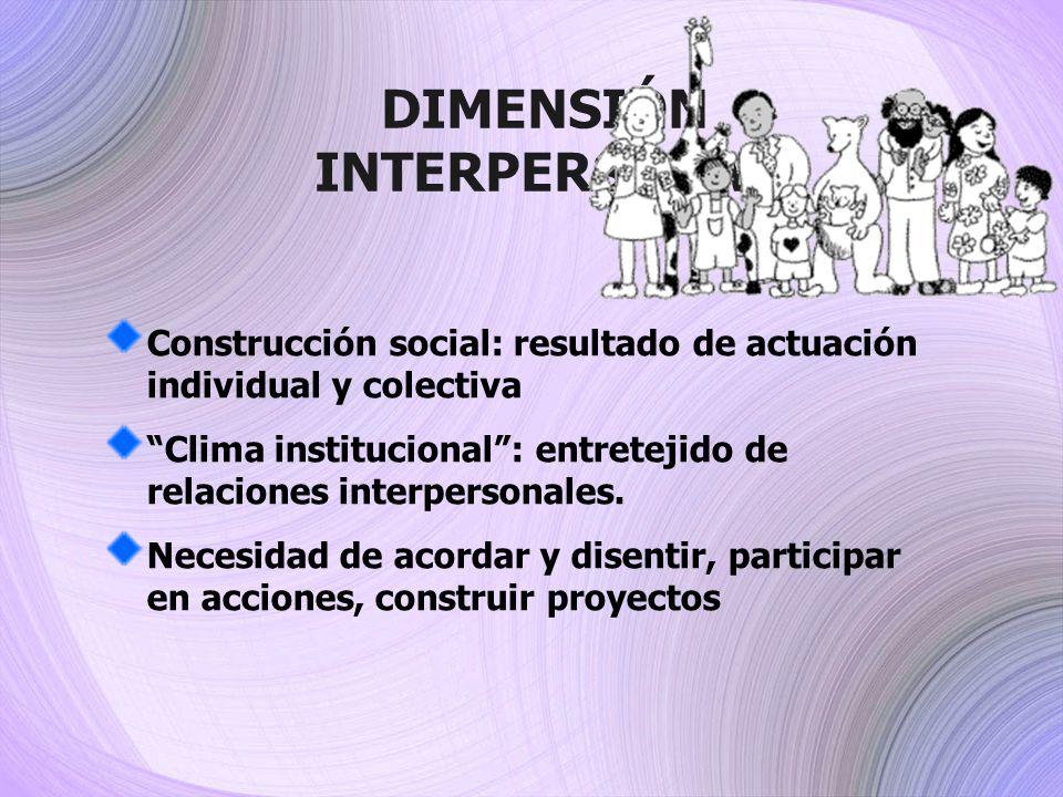 DIMENSIÓN INTERPERSONAL Construcción social: resultado de actuación individual y colectiva Clima institucional: entretejido de relaciones interpersona