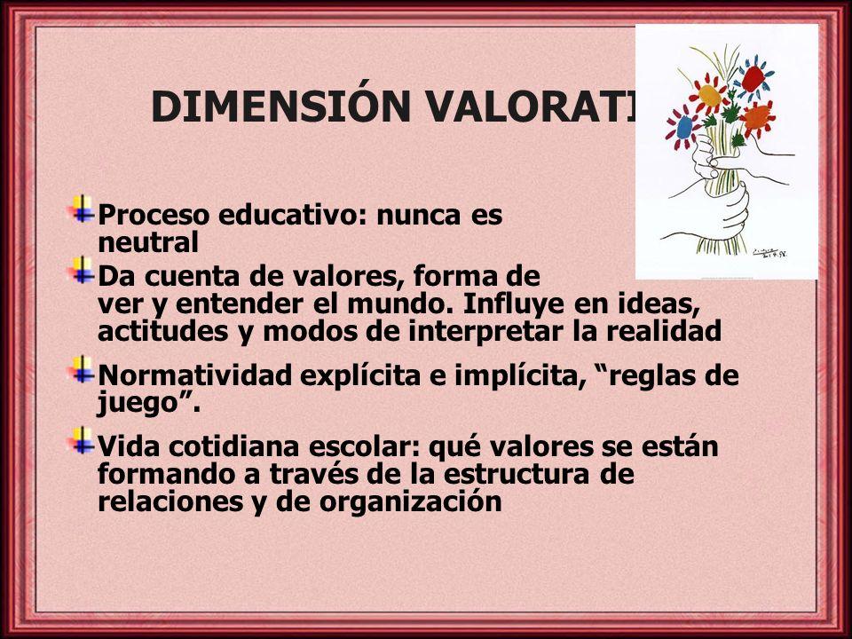 DIMENSIÓN VALORATIVA Proceso educativo: nunca es neutral Da cuenta de valores, forma de ver y entender el mundo. Influye en ideas, actitudes y modos d