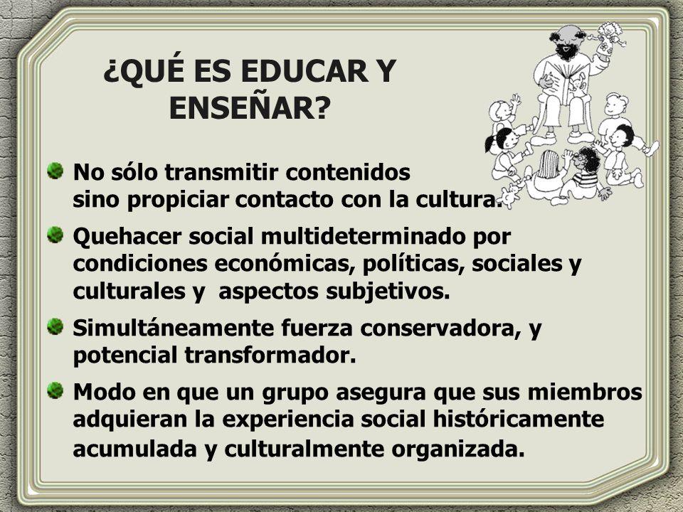 ¿QUÉ ES EDUCAR Y ENSEÑAR? No sólo transmitir contenidos sino propiciar contacto con la cultura. Quehacer social multideterminado por condiciones econó