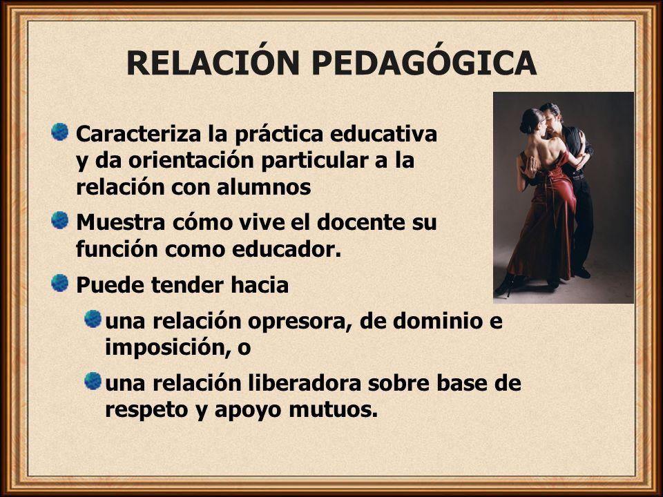 RELACIÓN PEDAGÓGICA Caracteriza la práctica educativa y da orientación particular a la relación con alumnos Muestra cómo vive el docente su función co