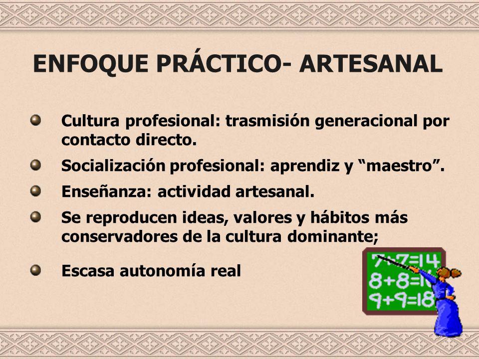 ENFOQUE PRÁCTICO- ARTESANAL Cultura profesional: trasmisión generacional por contacto directo. Socialización profesional: aprendiz y maestro. Enseñanz