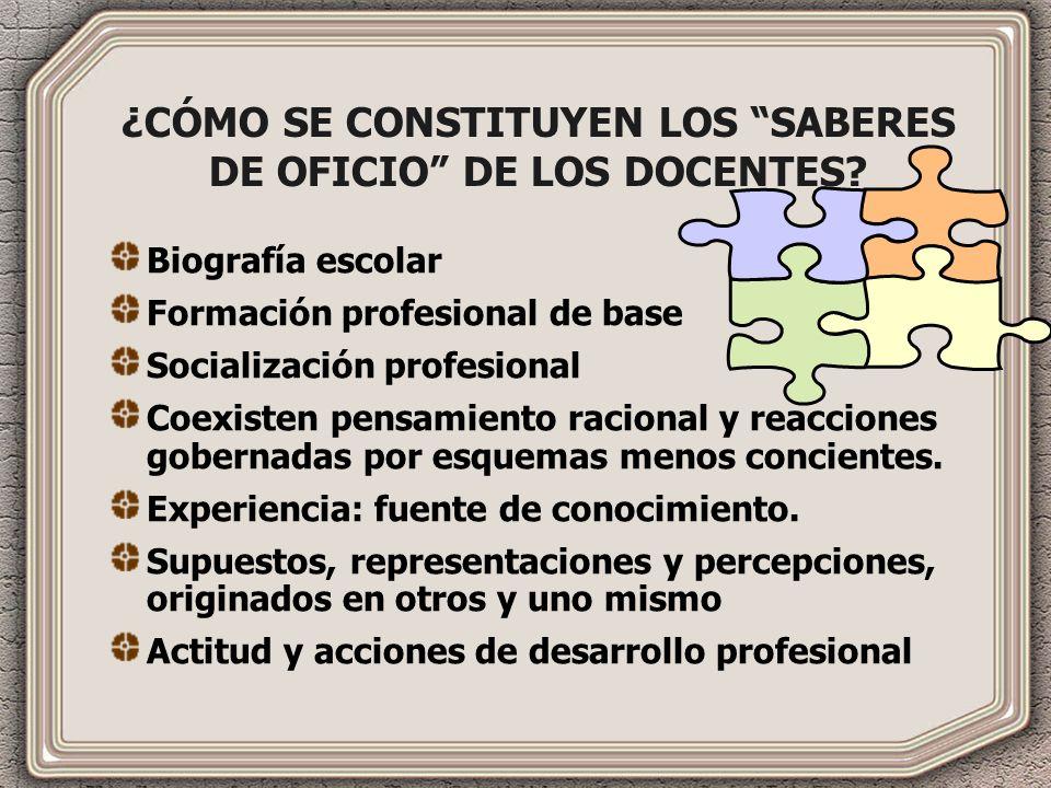 ¿CÓMO SE CONSTITUYEN LOS SABERES DE OFICIO DE LOS DOCENTES.