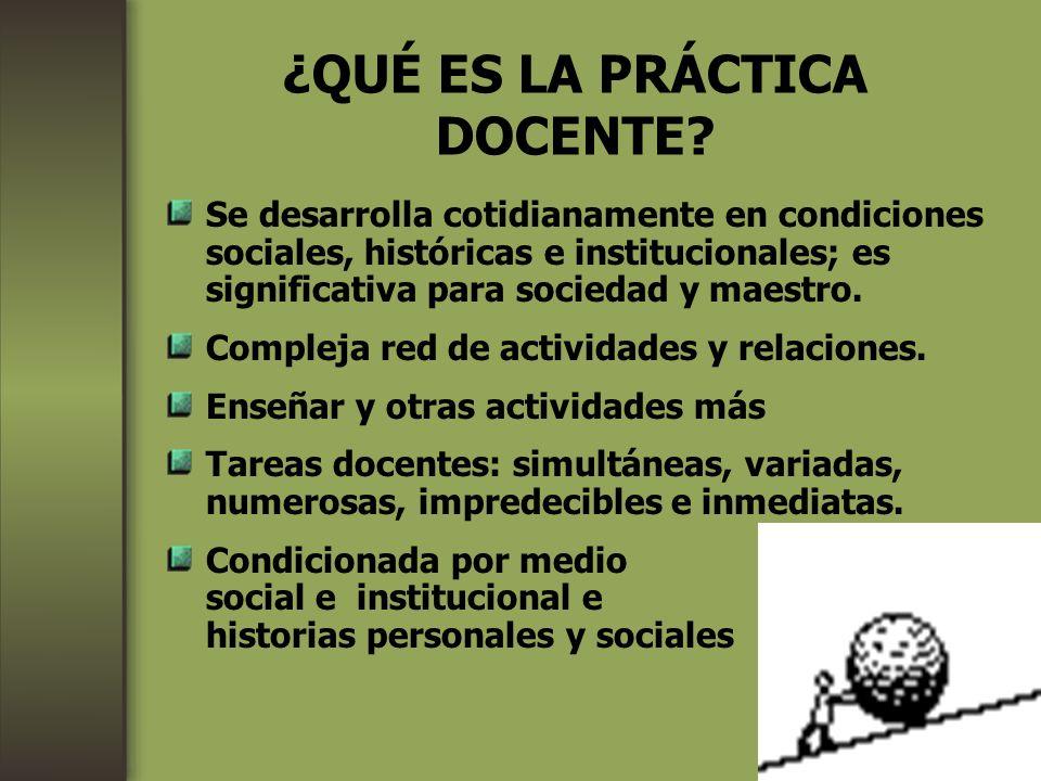 ¿QUÉ ES LA PRÁCTICA DOCENTE? Se desarrolla cotidianamente en condiciones sociales, históricas e institucionales; es significativa para sociedad y maes
