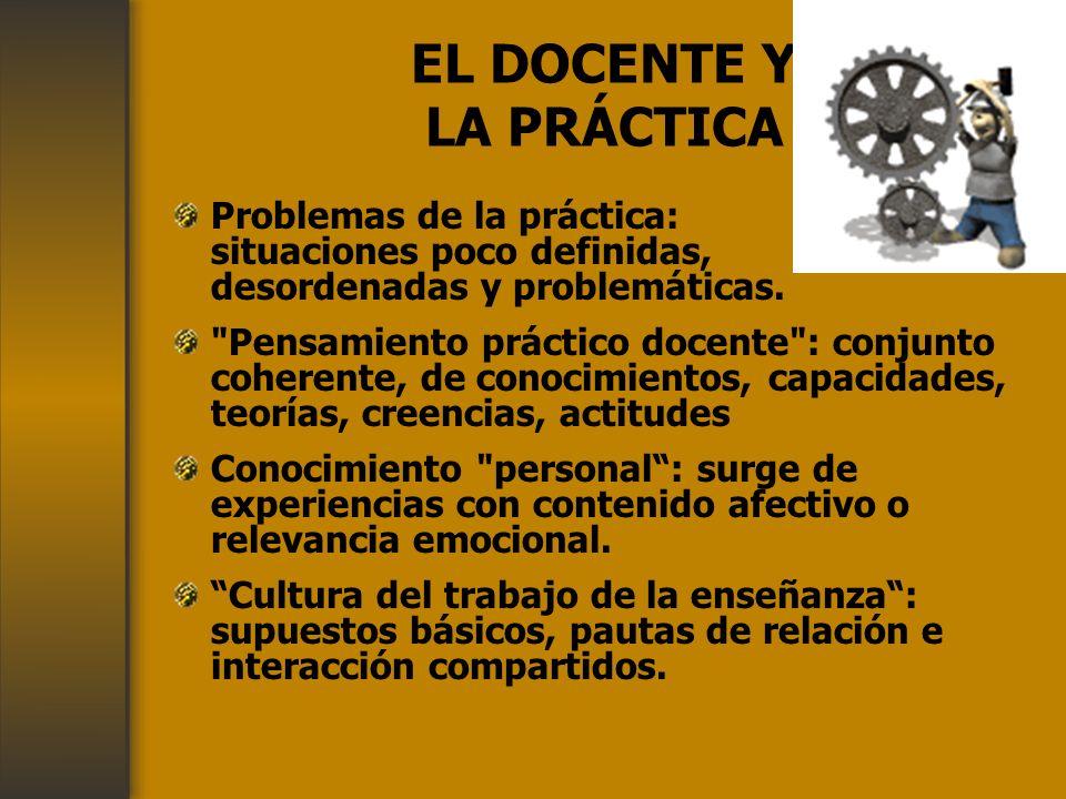 EL DOCENTE Y LA PRÁCTICA Problemas de la práctica: situaciones poco definidas, desordenadas y problemáticas.