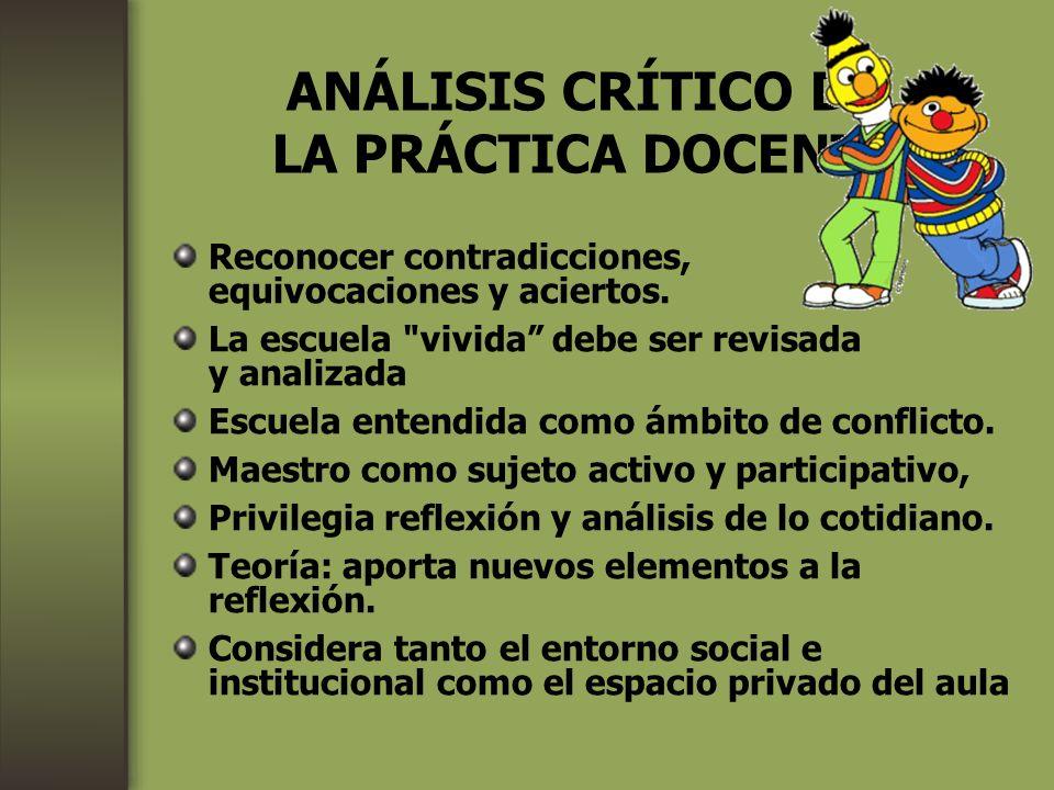 ANÁLISIS CRÍTICO DE LA PRÁCTICA DOCENTE Reconocer contradicciones, equivocaciones y aciertos. La escuela
