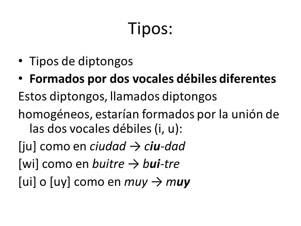 Tipos: Tipos de diptongos Formados por dos vocales débiles diferentes Estos diptongos, llamados diptongos homogéneos, estarían formados por la unión d
