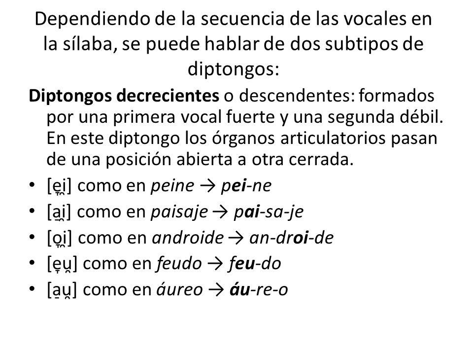 Dependiendo de la secuencia de las vocales en la sílaba, se puede hablar de dos subtipos de diptongos: Diptongos decrecientes o descendentes: formados