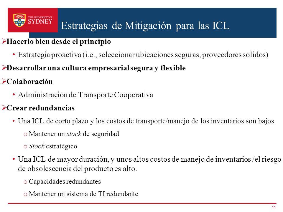 Estrategias de Mitigación para las ICL Hacerlo bien desde el principio Estrategia proactiva (i.e., seleccionar ubicaciones seguras, proveedores sólido