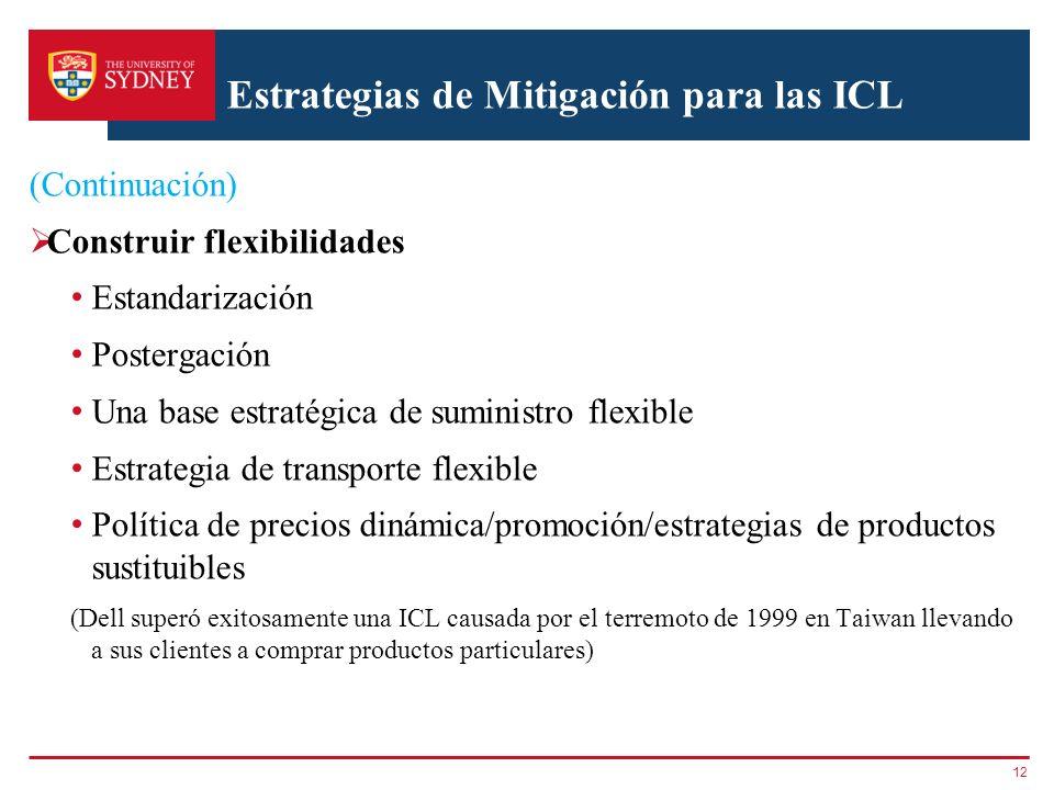 Estrategias de Mitigación para las ICL (Continuación) Construir flexibilidades Estandarización Postergación Una base estratégica de suministro flexibl