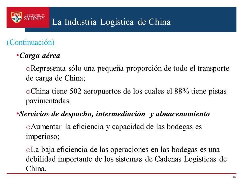 La Industria Logística de China (Continuación) Carga aérea o Representa sólo una pequeña proporción de todo el transporte de carga de China; o China t