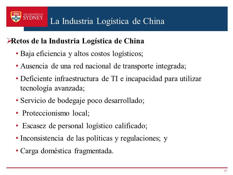 La Industria Logística de China Retos de la Industria Logística de China Baja eficiencia y altos costos logísticos; Ausencia de una red nacional de tr