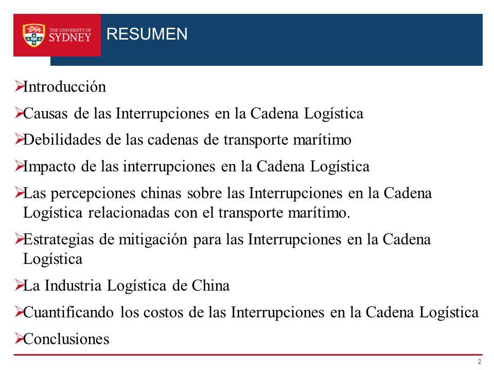 RESUMEN Introducción Causas de las Interrupciones en la Cadena Logística Debilidades de las cadenas de transporte marítimo Impacto de las interrupcion