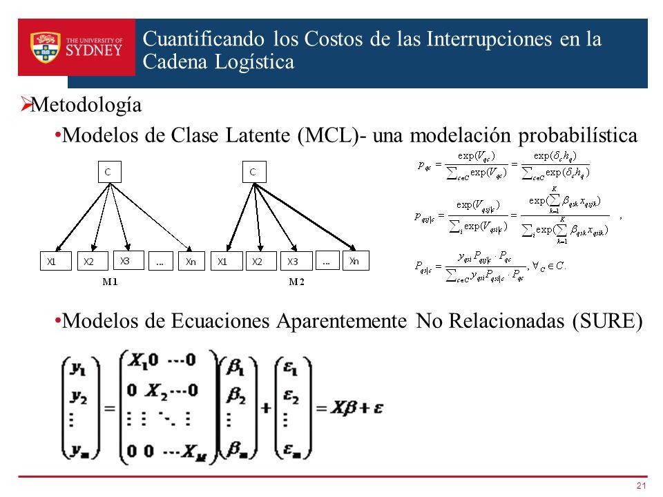Cuantificando los Costos de las Interrupciones en la Cadena Logística 21 Metodología Modelos de Clase Latente (MCL)- una modelación probabilística Mod