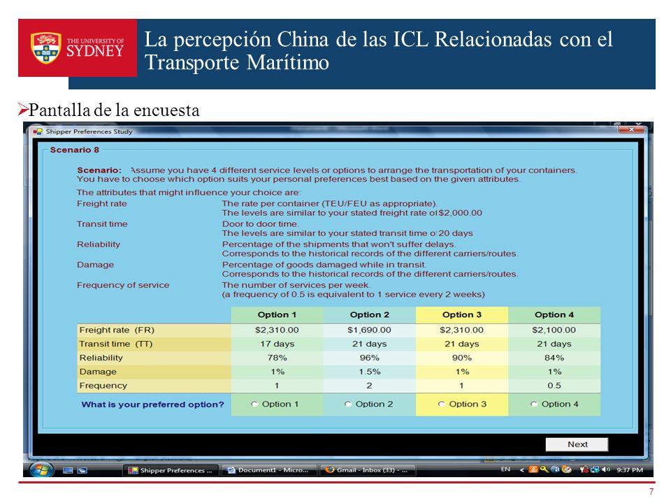 La percepción China de las ICL Relacionadas con el Transporte Marítimo Pantalla de la encuesta 7