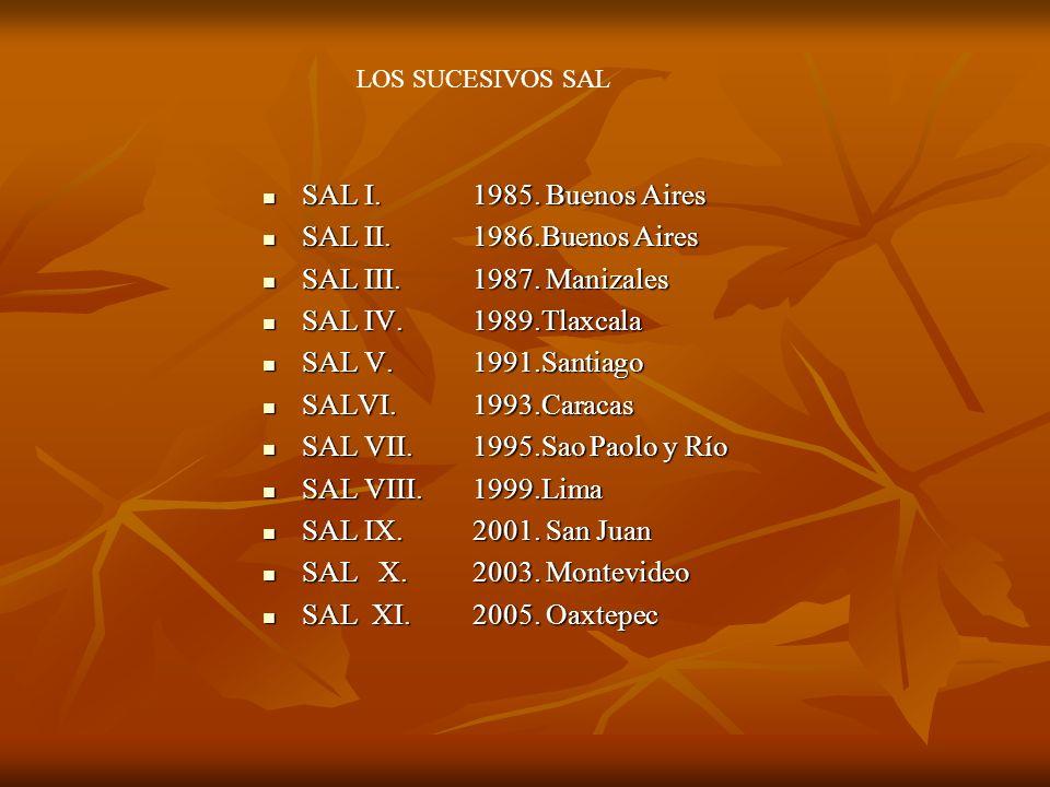 SAL I. 1985. Buenos Aires SAL I. 1985. Buenos Aires SAL II. 1986.Buenos Aires SAL II. 1986.Buenos Aires SAL III.1987. Manizales SAL III.1987. Manizale