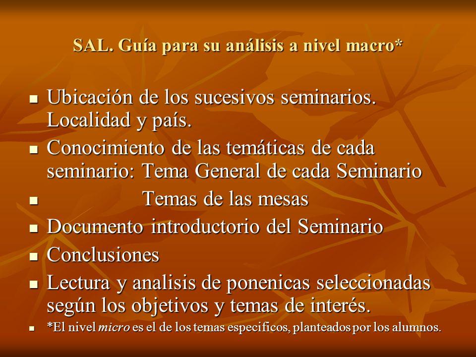 SAL. Guía para su análisis a nivel macro* Ubicación de los sucesivos seminarios. Localidad y país. Ubicación de los sucesivos seminarios. Localidad y
