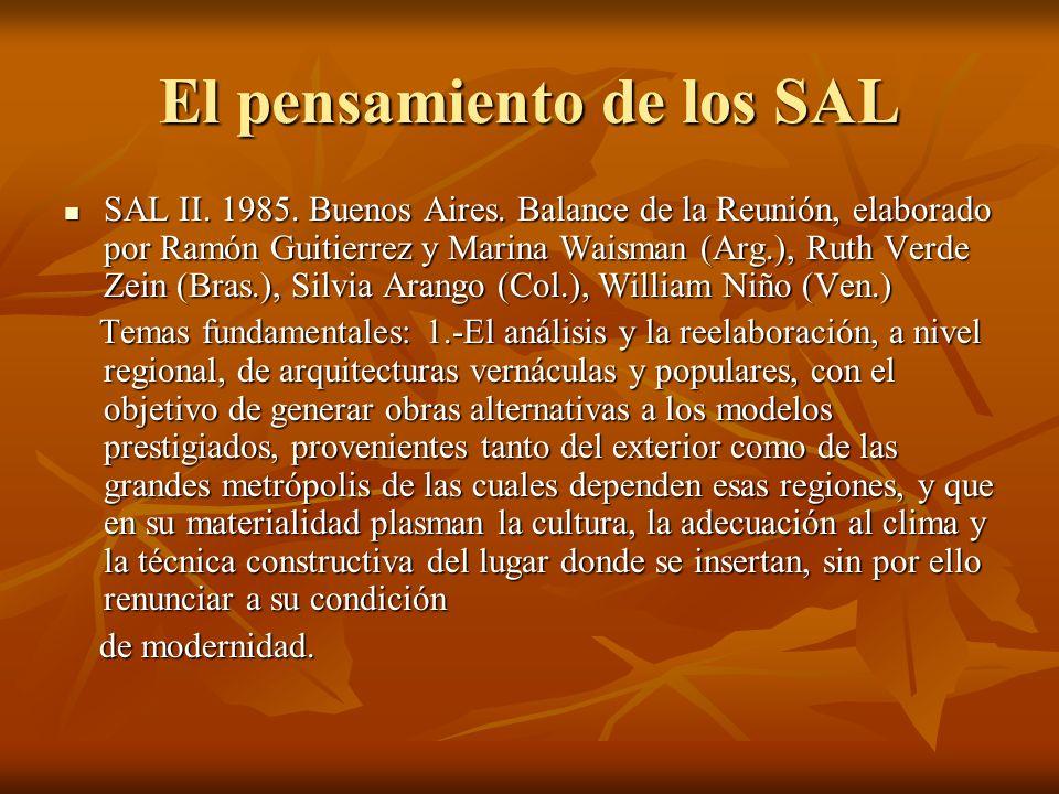 El pensamiento de los SAL SAL II. 1985. Buenos Aires. Balance de la Reunión, elaborado por Ramón Guitierrez y Marina Waisman (Arg.), Ruth Verde Zein (