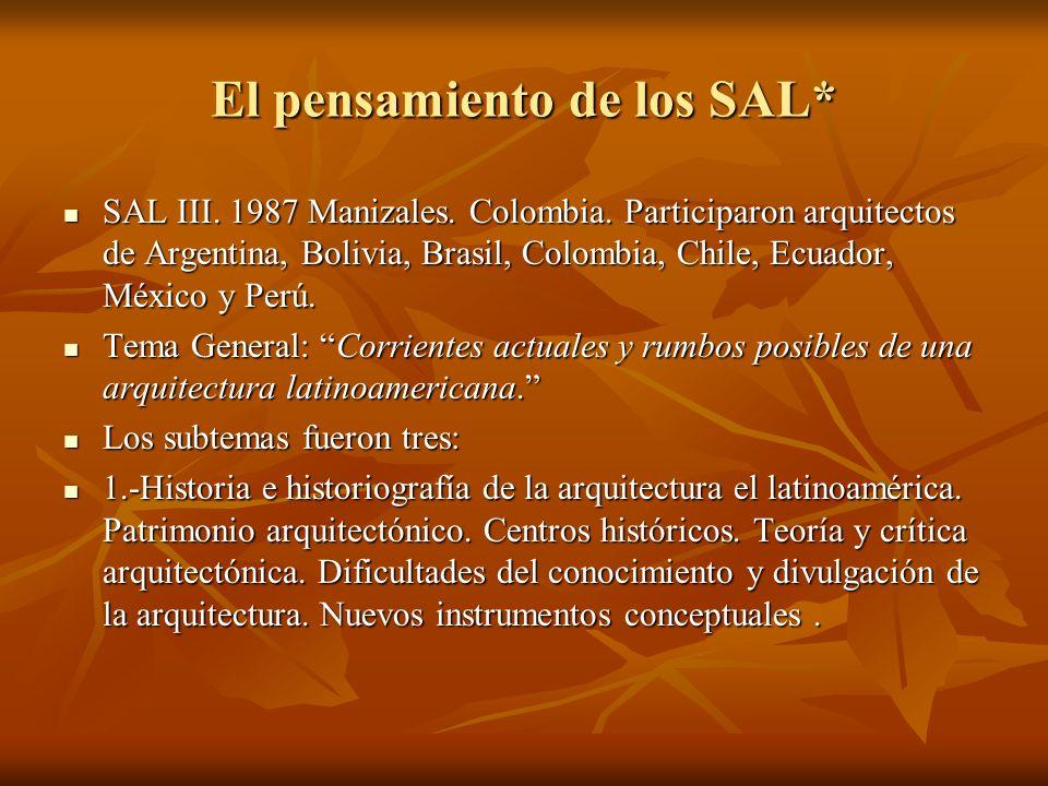 El pensamiento de los SAL* SAL III. 1987 Manizales. Colombia. Participaron arquitectos de Argentina, Bolivia, Brasil, Colombia, Chile, Ecuador, México