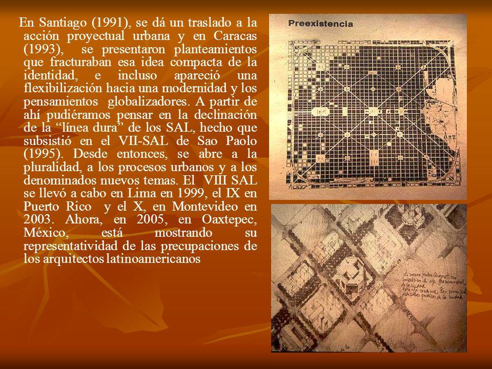 En Santiago (1991), se dá un traslado a la acción proyectual urbana y en Caracas (1993), se presentaron planteamientos que fracturaban esa idea compac